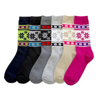 6 Pair Womens Christmas Snowflake Winter Assorted Crew Socks