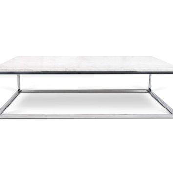 Prairie 47X30 Marble Coffee Table White Marble Top/Chrome Legs