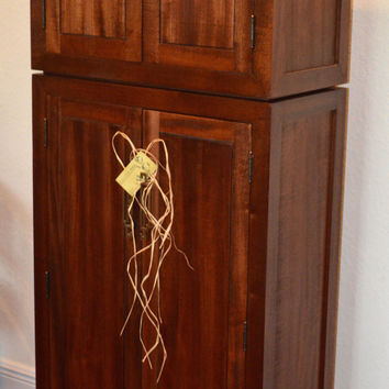 "SOLID MAHOGANY ARMOIRE, 60"" T Media, Storage Cabinet, Asian Inspired, by Kagumise"