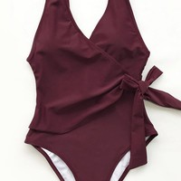 Cupshe Elegant Dance Solid One-piece Swimsuit