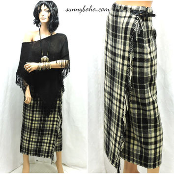 Wool plaid fringed tartan maxi skirt XS S high waisted long wool blanket wrap winter skirt boho fringe plaid maxi skirt SunnyBohoVintage