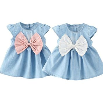 Kids Baby Girl Fashion Bowknot Princess Dress Casual Party Wedding Pageant Dress