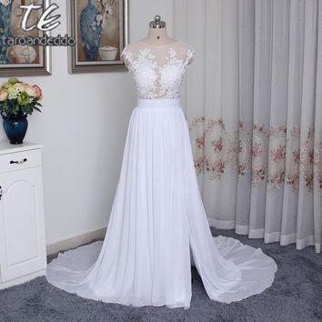 Sexy Scoop Neckline Chiffon Long Illusion Button Back Appliques Beach Wedding Dress Real Photos Front Slit Bridal Gown 2017