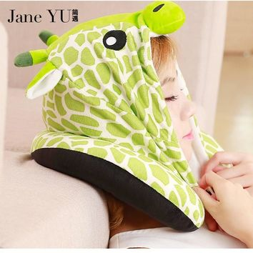 JaneYU Animal pillow cartoon U-hooded Travel Pillow Cushion Hat Plush Cap Cartoon Massage Neck Pillow