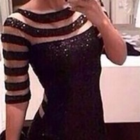 Black Sheer Mesh Sequin Cut Out Scoop Neck Elbow Sleeve Bodycon Mini Dress