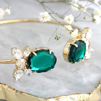 Emerald Bracelet, Emerald Cuff Bracelet, Bridal Emerald Crystal Bracelet, Swarovski Emerald Green Crystal Bracelet, Bridesmaids Earrings,
