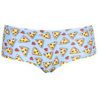 Pizza and Hearts Print Boypants - Blue