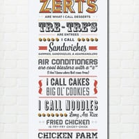 Typography Print, Quote Print, Parks and Recreation, Tom Haverford, Food Slang, Type Design, Wall Decor, Kitchen Decor - Food Slang (8x24)