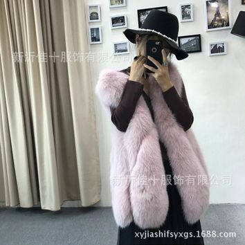 Women Rabbit Fur Hand Knitted Vest/Gilet New Fashion Fake Fur Vest High Quality