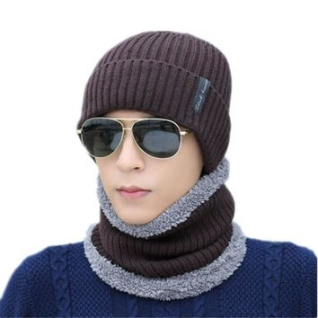 Winter Face Mask Cap Neck Warmer Balaclave Hat Mens Skullies Beanies Cap Scarf Sets Fashion Fleece Beanie Knitted Hats