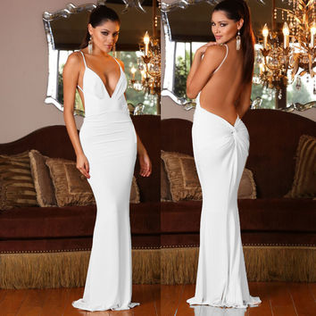 White Backless Knot V-Neck Maxi Dress