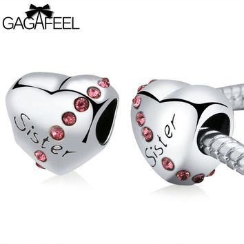 "GAGAFEEL Heart Bead Charms to Fit Original Pandora Bracelets ""Love Sister""!"