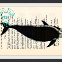 Black Whale Art Beautifully Upcycled Vintage Dictionary Page Book Art Print, Sea Life Print