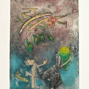 Centre Noeuds (Plate #6), 1974 Limited Edition Etching & Aquatint, Roberto Matta