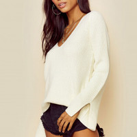 RIBBED MONA SPLIT SLEEVE SWEATER