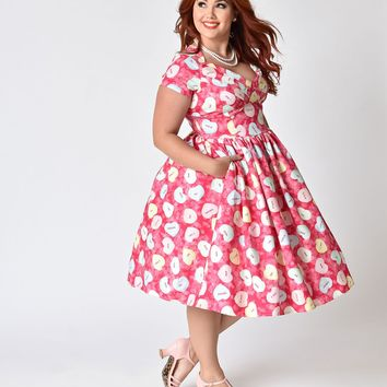 Unique Vintage Plus Size Pink Conversational Hearts Cupid Swing Dress