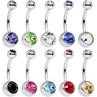 10 pc Stainless Steel Assorted Colors Belly Button Ring