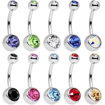10pc Piece Stainless Steel Assorted Colors Belly Button Ring