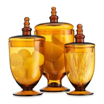 Terra Collection Assorted Footed Canister Amber Glass Apothecary Jars Wedding Centerpiece (3 Piece Set) Designer Decorative With Lids,
