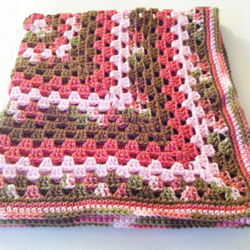 Baby Blanket Granny Square Crochet - Pink & Brown - Ready To Ship - Free Shipping