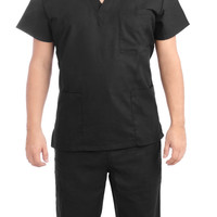 Black Medical Scrub Uniform Set