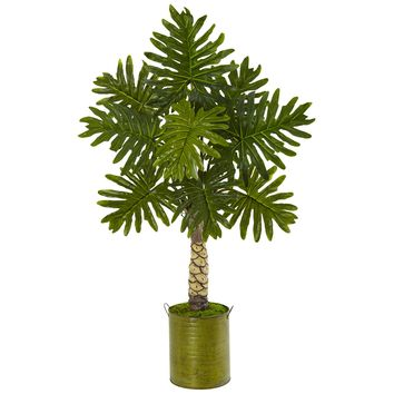 Artificial Tree -4.5 Foot Monstera Tree with Green Metal Planter