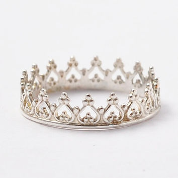 Silver Crown Ring Sterling Stacking Princess
