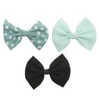 Polka Dot Clip Bow 3-Pack | Wet Seal