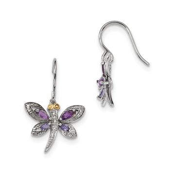 Sterling Silver And 14K Amethyst And Iolite And Diamond Dragonfly Earrings
