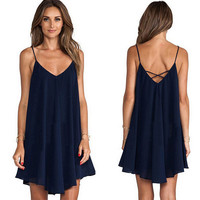 Sexy Women Chiffon Backless Dress Sling Strap Back Casual Club Party Dresses Summer Mini Vestido Clothes