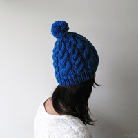 Hand Knitted Cable Chunky Beanie in Cobalt Blue - Beanie with Pom Pom - Seamless - Wool Blend