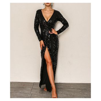 Black Long Sleeve Fit and Flare Sequin Cocktail Maxi Dress