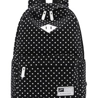 Leaper Casual Style Polka Dots Laptop Back Pack School Bag (Black)