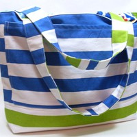Extra Large Beach Bag in Royal Blue and Green Stripes