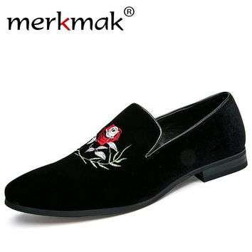 Merkmak Handmade Flower Men's Suede Loafers Wedding Party Men Shoes Luxury Exquist Embroidery Elegant Dress Shoes for Men Flats