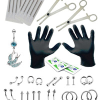 BodyJ4You® Body Piercing Kit Belly Rings Tongue Tragus Eyebrow Nipple Lip Nose 36 Pieces