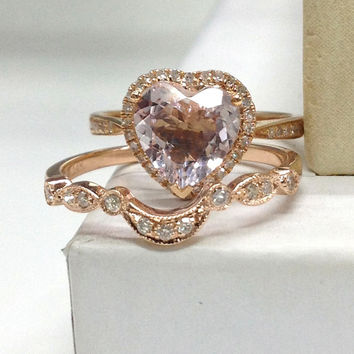 Morganite Wedding Ring Set!Diamond Engagement Ring 14K Rose Gold,8mm Heart Shaped Cut Pink Morganite Gemstone,Curved Stacking Matching Band