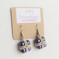 Purple Pearls, Pearl Dangle Earrings, Geometric Square, Gift Women Girls Teens Daughter, Cross Beaded Earrings, Gift Ideas Aunt Sister