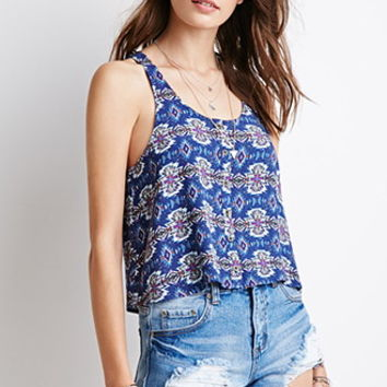 Tribal Print Buttoned Tank