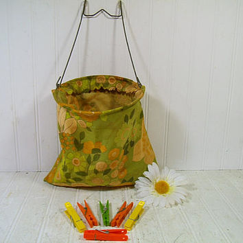 Retro Boho Chic Vintage Clothespin Bag Aged Flower Power Sixties Fabric on Galvanized Metal Hanger & 6 Colorful Plastic Clothespins Included