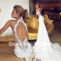 Real Photos Romantic Open Back Lace Wedding Dresses Mermaid Trumpet Sweetheart Applique Beads 2015 Chiffon Bridal Gown yk8R874