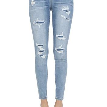 Judy blue Patched skinny mid-rise  light blue jeans plus