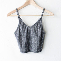 Knit Ribbed V-neck Crop Top - Charcoal