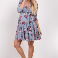 Blue-Floral-Sash-Tie-Wrap-Dress
