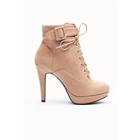 Take Me With You Lace Up Booties (Taupe)