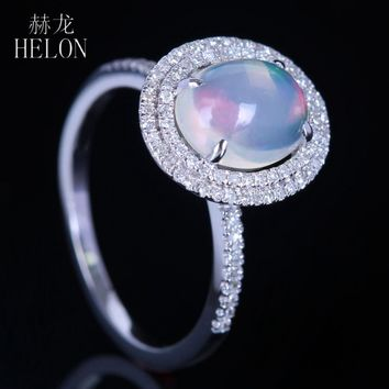HELON Sterling Silver 925 Natural Diamonds Ring Milk White Opal Oval 9x7mm Engagement Wedding Ring Women Fine Anniversary Party