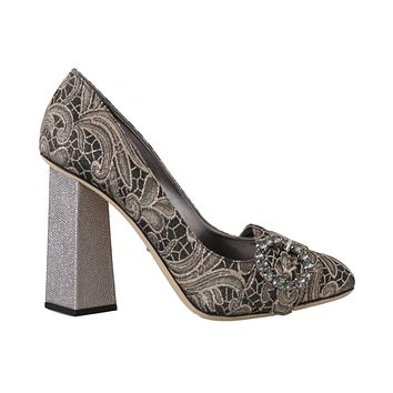 Dolce & Gabbana Gray Jacquard Floral Crystal Pumps