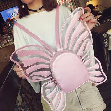 Personality fun butterfly modeling laser transparent zipper ladies backpack casual lolita girl's  school jelly color backpack