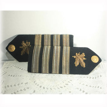 US Navy Supply Corp Captain Wood Shoulder Boards by Gemsco