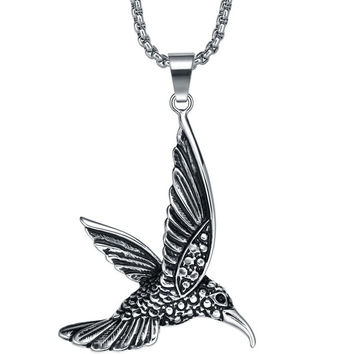 Stainless Steel Hummingbird Pendant Necklace